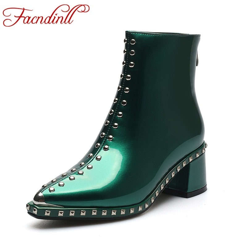 FACNDINLL 2017 new autumn winter women ankle boots patent leather shoes rivets black zipper high heels woman riding short boots anmairon winter autumn shoes woman low heels ankle boots women nubuck zipper buckle platform short boots black