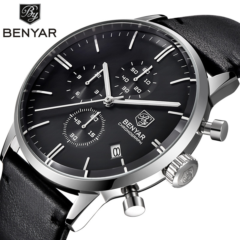 Relogio Masculino Benyar Quartz Watch Men 2017 Top Brand Luxury Leather Mens Watches Fashion Casual Sport Clock Men Wristwatches цена и фото