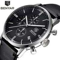 Relogio Masculino Benyar Quartz Watch Men 2017 Top Brand Luxury Leather Mens Watches Fashion Casual Sport Clock Men Wristwatches