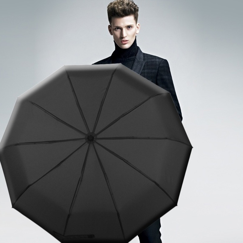 Automatic Umbrella 3 Folding 8 Bones Sunshine Rain Umbrellas Garden Black Coating Double Layer Large Sunshade Protective in Umbrellas from Home Garden