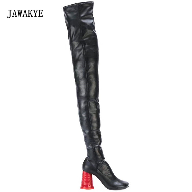 2017 Red Cup Strange Heel Black Over The Knee Boots Women Round Toe High Heel Shoes Woman Knight boots Female Long Boots enmayer over the knee boots shoes new pu knitting square heel high boots warm snow long boots red brown black knight boots
