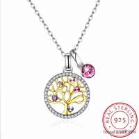 SMTCAT 925 Sterling Silver Tree of Life Round Pendant Necklaces Crystal from Women Fine Jewelry Collares de Prata Gift