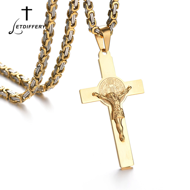 US $16 1 20% OFF Letdiffery Two Type Jesus Cross Necklace Stainless Steel  Byzantine Chain Cross Pendant For Catholic Catholics Pray-in Pendants from