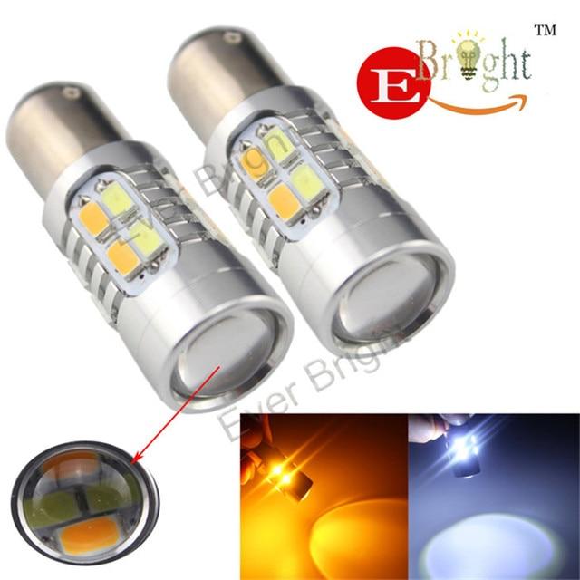 2X High Power 1157 BAY15D 20SMD 5730 LED Dual Kleur koud Wit/Amber Switchback LED Richtingaanwijzer 12 V DC