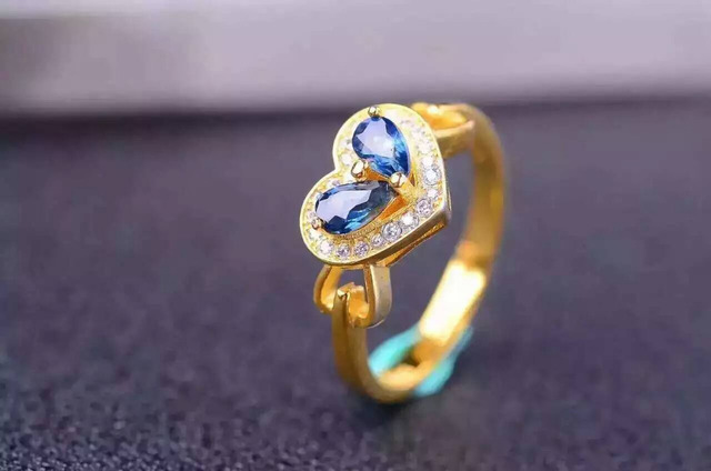 Natural blue sapphire gem Ring Natural gemstone ring S925 sterling silver trendy Romantic heart women girl party gift Jewelry
