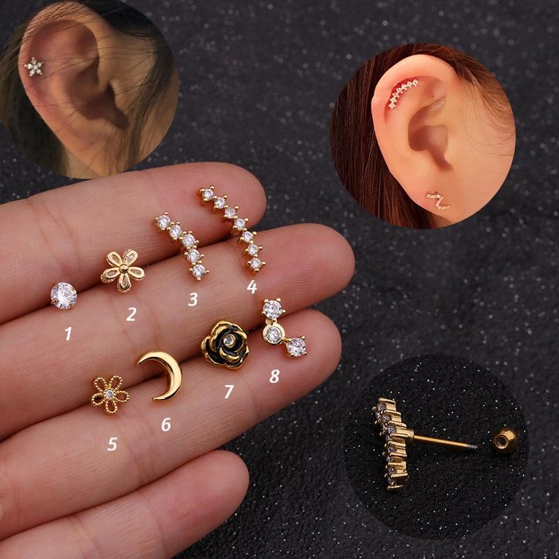 1Pc Flower Moon Long Cz Ear Studs Helix Piercing Cartilage Earring Conch Rook Tragus Stud Ear Piercing Jewelry women accessories Body Jewelry    - AliExpress