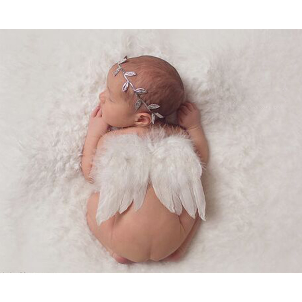 Fashion Newborn Baby Kids Olive Branch Headband & Angel Wings Photo Props Newborn Photography Props цена