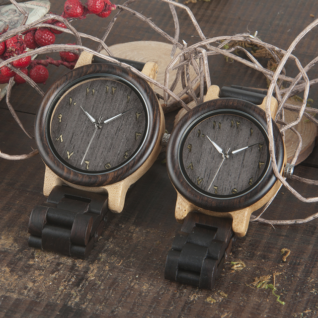 BOBO BIRD L-N14 Couple Wooden Watches 100% Natural Wood Watches Men Women Clock Christmas Gift in Case 2