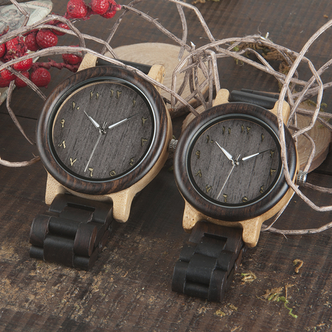 BOBO BIRD L-N14 Couple Wooden Watches 100% Natural Wood Watches Men Women Clock Christmas Gift in Case Karachi