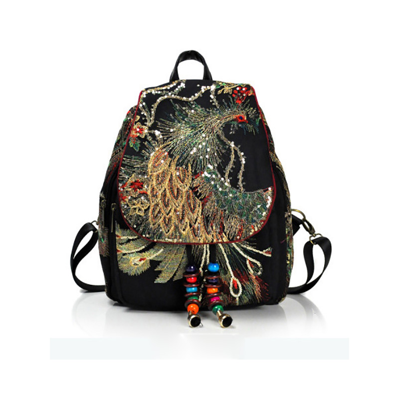Backpack Women Yunnan National Style Embroidering New Female Bag Peacock Embroidered Bags Canvas Women's Shoulderbag