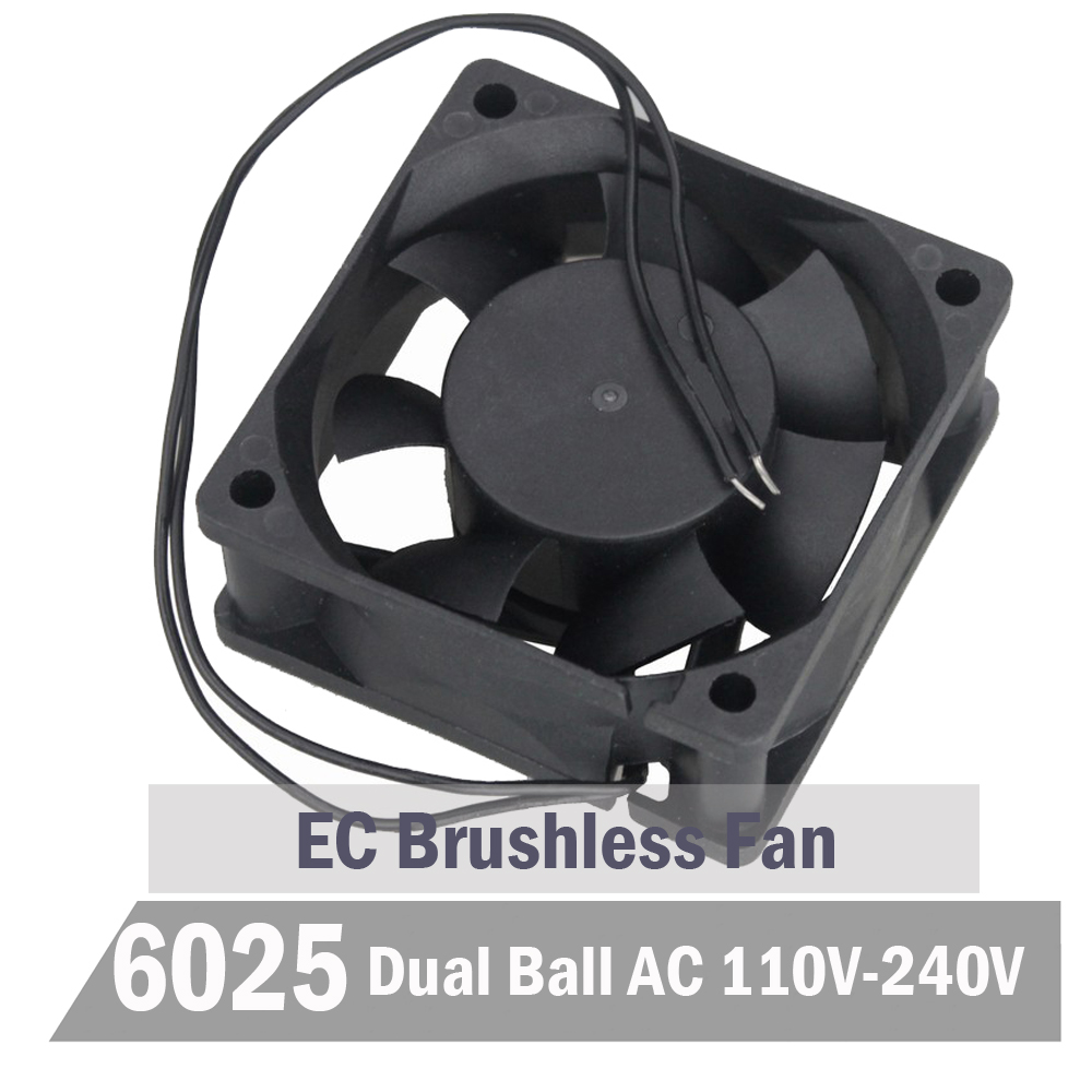2pcs Gdstime Ball 60mm EC <font><b>Fan</b></font> 60mm x <font><b>25</b></font> <font><b>mm</b></font> AC 110V 115V 220V 240V Cooling <font><b>Fan</b></font> 6CM Brushless Aixal Cooler <font><b>Fan</b></font> image