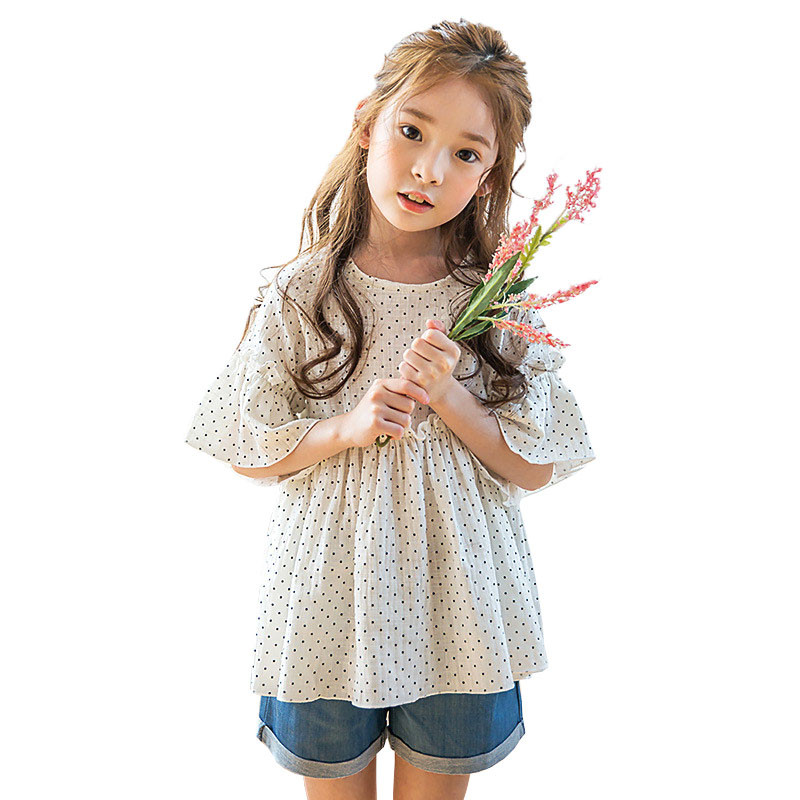 New Arrival Summer 2017 Korean Girls 2pcs/Set Clothes Kids Dot Printed T-shirt And Jeans Pants Baby Casual Clothes Sets 2pcs children outfit clothes kids baby girl off shoulder cotton ruffled sleeve tops striped t shirt blue denim jeans sunsuit set