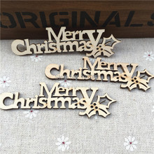 60pcs 9.2x2.5cm Letter Merry Christmas Chipboard Confetti Chips Tags Embellishments DIY Christmas Party Scrapbooking Crafts