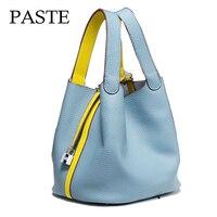 2016 Luxury Genuine Leather Guaranteed Cowhide Women Handbag Famous Brand Lady Lock Bags Female Handbag Bucket