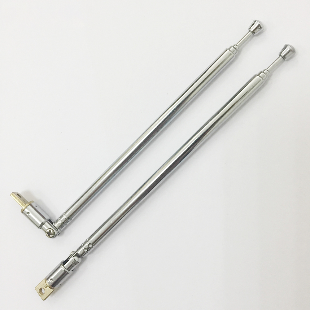 2PCS Instrument Durable Telescopic Car Accessories Stretch Stainless Steel Parts Antenna 4 Section Replacement Radio AM/FM TV