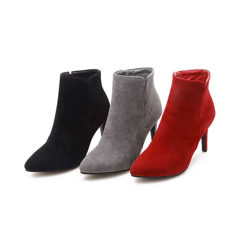 WETKISS Yüksek Topuklu Ayak Bileği Kadın Çizmeler Sivri Burun Ayakkabı Akın Kadın Çizme Zip parti ayakkabıları Kadın 2018 Kış Artı Boyutu 34 -47