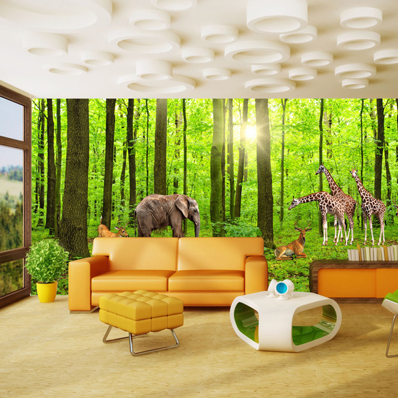 Custom 3D Photo Wallpaper Forest Tree Giraffe Deer Large Living Room Background Wall Decor Painting Non-woven Wallpaper Mural book knowledge power channel creative 3d large mural wallpaper 3d bedroom living room tv backdrop painting wallpaper