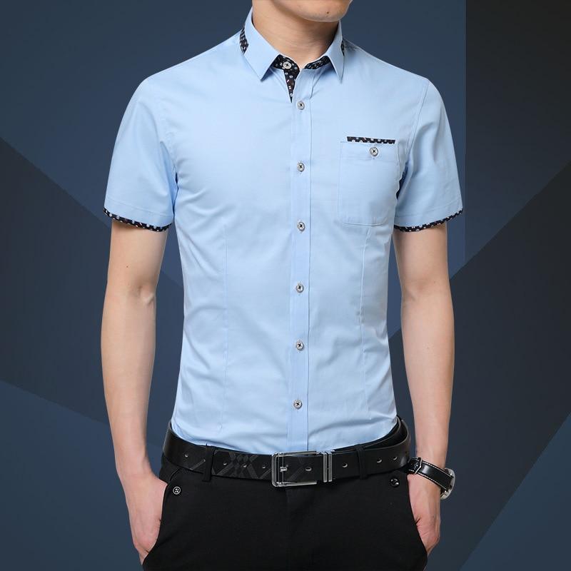 Summer 2019  Men Shirt Short Sleeve Mens Slim Fit Fashion Shirts Dress Shirt Asian Size 5XL Brand Clothing