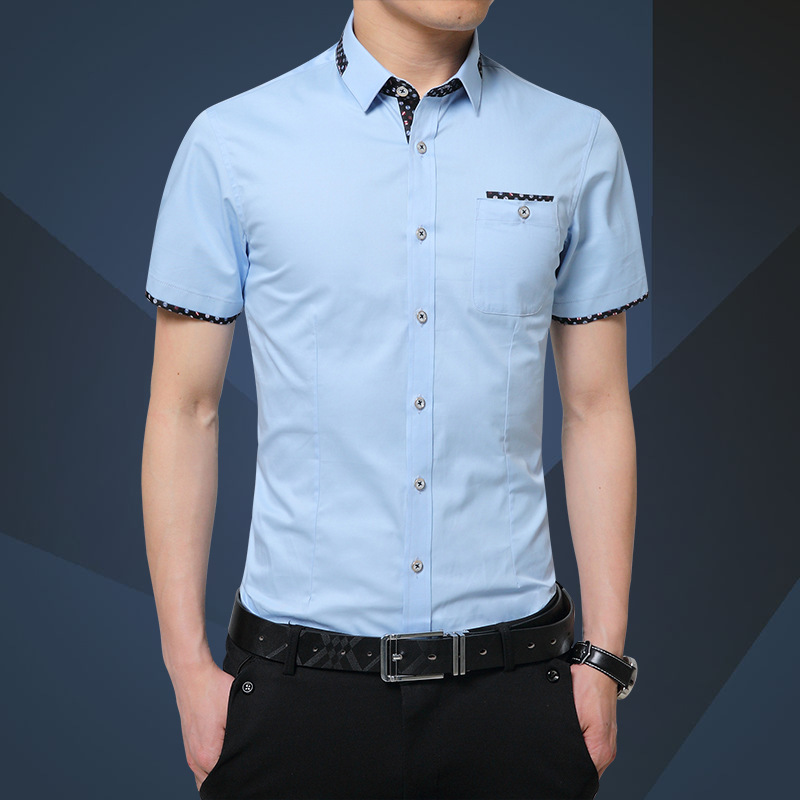 Summer 2019 Men Shirt Short Sleeve Mens Slim Fit Fashion Shirts Dress Shirt Asian Size 5XL Brand Clothing