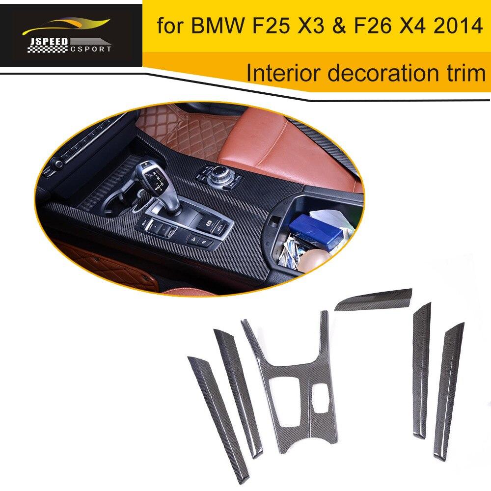 Décoration de tableau de bord intérieur en Fiber de carbone pour BMW F25 X3 & F26 X4 2014 conduite à gauche
