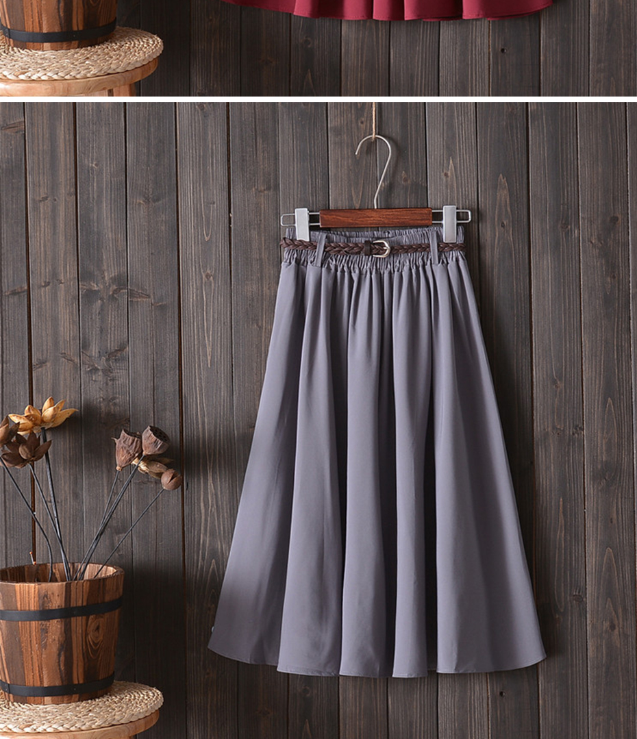 Surmiitro Midi Knee Length Summer Skirt Women With Belt 19 Fashion Korean Ladies High Waist Pleated A-line School Skirt Female 11
