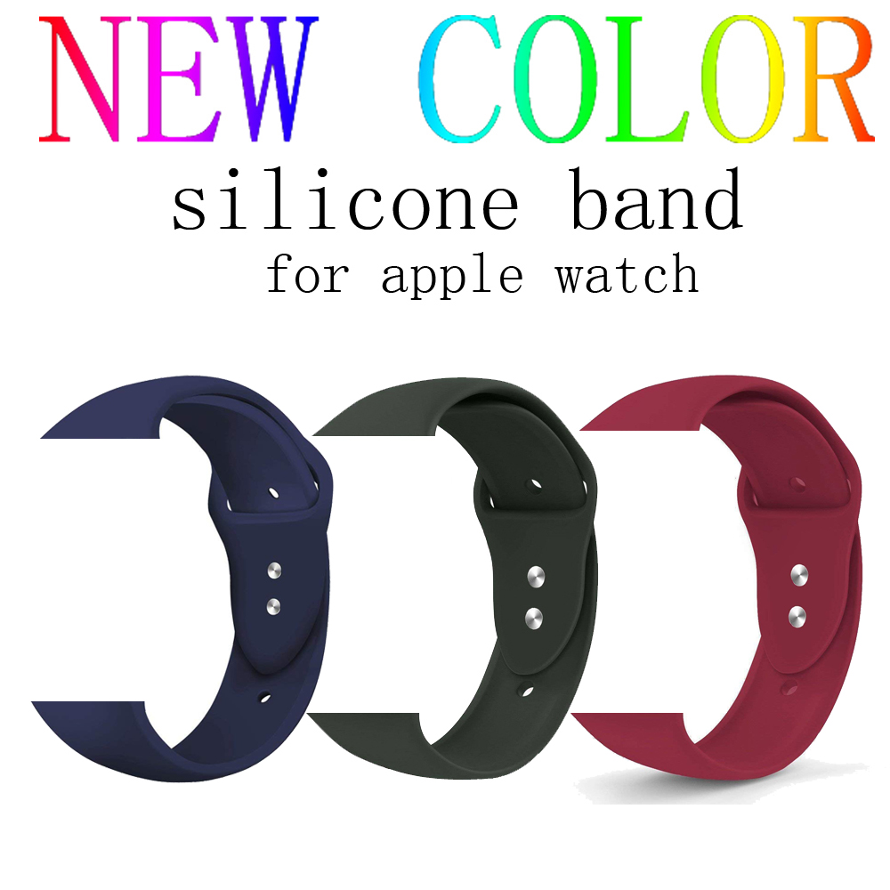 CRESTED NEW silicone watch strap for apple watch band 42mm/38mm iwatch series 3/2/1 rubber bracelet replacement watch wrist belt luxury ladies watch strap for apple watch series 1 2 3 wrist band hand made by crystal bracelet for apple watch series iwatch
