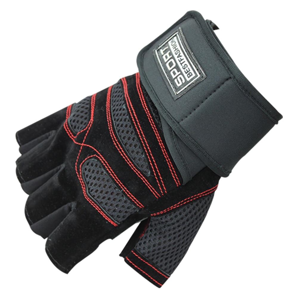 Перчатки для фитнеса износостойкие нескользящие спортивные перчатки для велоспорта Дышащие Перчатки для фитнеса противоударные уличные перчатки для запястья - Цвет: red