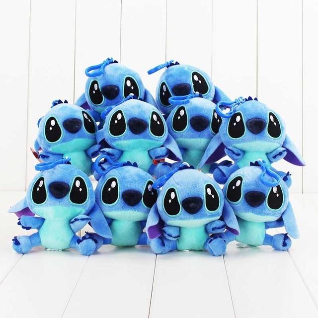 """10 unids/lote 4 """"10 cm Lilo & Stitch peluche muñeca con gancho suave peluche muñeca azul puntada felpa colgantes llavero"""