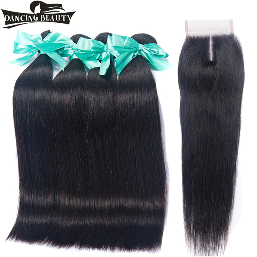 DANCING BEAUTY Brazilian Human Hair Weave Bundles With Lace Closure 4Bundles Straight Hair With Closure Non Remy Hair Extensions