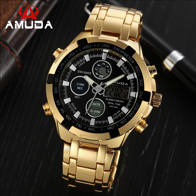2018 AMUDA Gold Digital Watch Relogio Masculino Waterproof LED Watches For Men Chrono Full Steel Sports Alarm Quartz Clock Saat 2018 amuda gold digital watch relogio masculino waterproof led watches for men chrono full steel sports alarm quartz clock saat