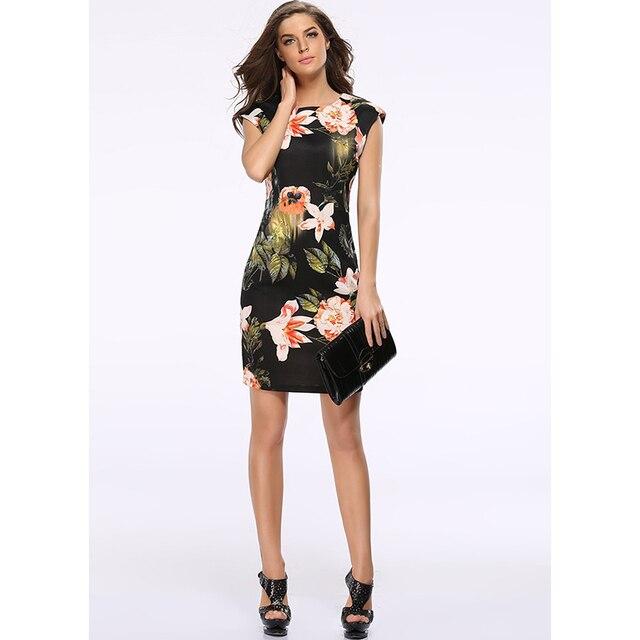Brilliant SheIn New Woman Dress 2016 Summer Black Round Neck Sleeveless Womens