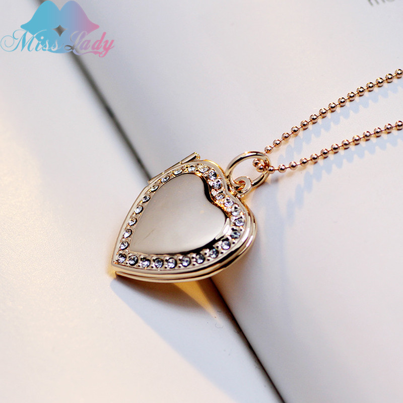 Miss Lady Trendy Crystal Love locket pendant necklace Photo