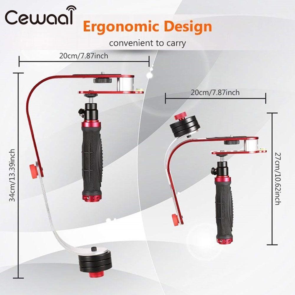Cewaal rouge Mini DSLR caméra stabilisateur caméra arc forme stabilisateur 5D3 Fix stabilisateur de poche Support pour caméscope DV
