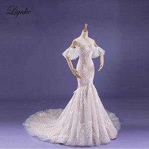 Image 2 - Liyuke Fabulous Dropped Waistline Mermaid Wedding Dress Court Train Inner Champagne Off The Shoulder Bridal Dresses