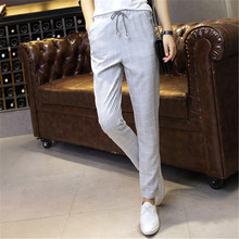 Plaid Harem Pants Trousers 2018 New Spring Summer Loose Casual Drawstring Elastic Waist Pants Cotton Linen Pants dropshipping