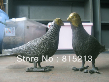 bi0030 a pair good luck The angel of the peace Pigeon bronze statue