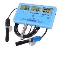 PHT 026 мульти Функция качества воды измеритель EC CF TDS PH по Цельсию по Фаренгейту с Перезаряжаемые Батарея 6 в 1 цифровой тестер