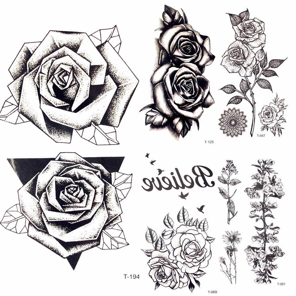 летняя горячая 3d черная треугольная роза временная татуировка