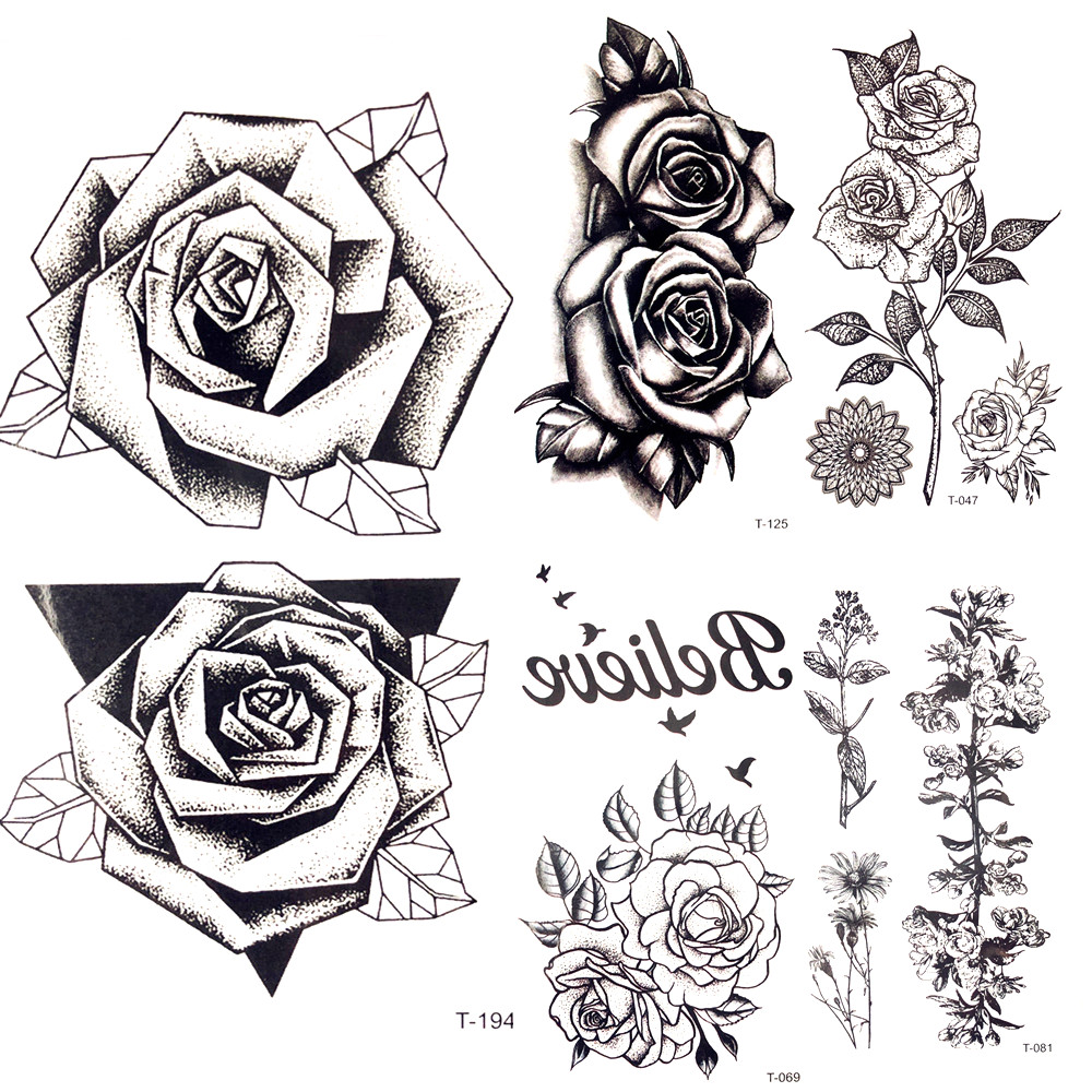 Rose Tattoofor Arm To Chest: Summer Hot 3D Black Triangle Rose Temporary Tattoo Women