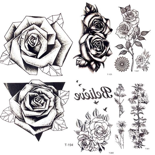 Bocetos Tatuajes Brazo verano caliente 3d triángulo negro rose tatuaje temporal mujeres