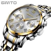 GIMTO Business Gold Watch Men Stainless Steel Mens Watches Top Brand Luxury Clock Male Calendar Wrist