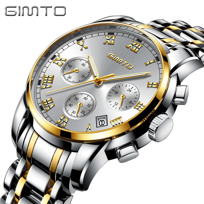 GIMTO Business Gold Watch Men Stainless Steel Mens Watches Top Brand Luxury Clock Male Calendar Wrist Watch relojes hombre 2017 автомобильный потолочный монитор 15 6 со встроенным dvd плеером avis avs1520t cерый