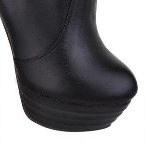 Image 3 - Taoffenプラスサイズ 33 46 セクシーなオーバー膝腿ブーツ女性秋冬ロングブーツ靴女性プラットフォームベルベットのブーツ