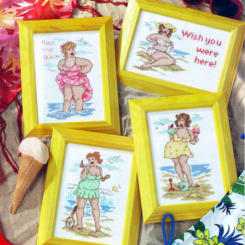 fishxx cross stitch kit patterns counted cross stitch diy embroidery needlework Beach women eat christmas decoration cartoon new