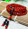 Onyx Mala Beads Pattern Strand Bracelets Natural Red AGate Buddha 108 Beads Bracelet 6mm
