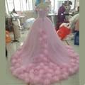 2016 Pink Cloud Photo Wedding Dresses Long Tulle bridal Ball gown Vestido De Noiva Summer Puffy Ruffle Robe De Mariage Mhama