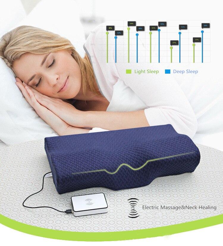 Oreiller de Massage électrique orthopédique Latex magnétique 50*30 CM oreiller de cou rebond lent oreiller en mousse à mémoire de santé soulagement de la douleur
