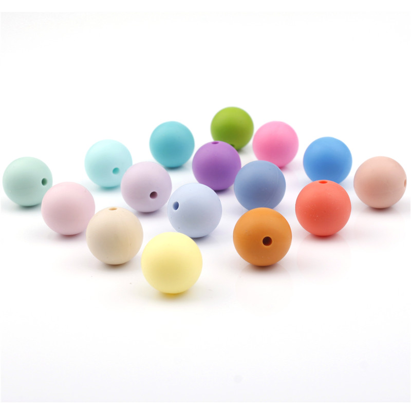 12MM 100pc Silicone Round Teether Beads Bpa Free Dental Care Jewelry Bracelet Accessories Diy Silicone Baby Teething Necklace