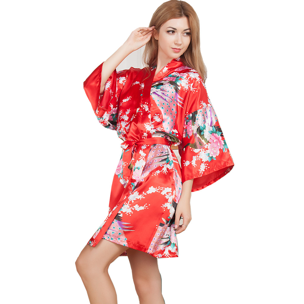 New Wedding Bride Bridesmaid Robe Floral Bathrobe Short Kimono Night Robe Bath Robe Fashion Dressing Gown For Women One Size T04