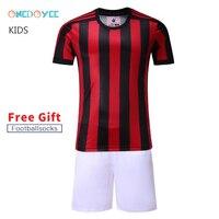 ONEDOYEE New Boys Plain Football Uniforms Kids Soccer Jerseys Sets Children Football Training Games Kits Custom Name and Number